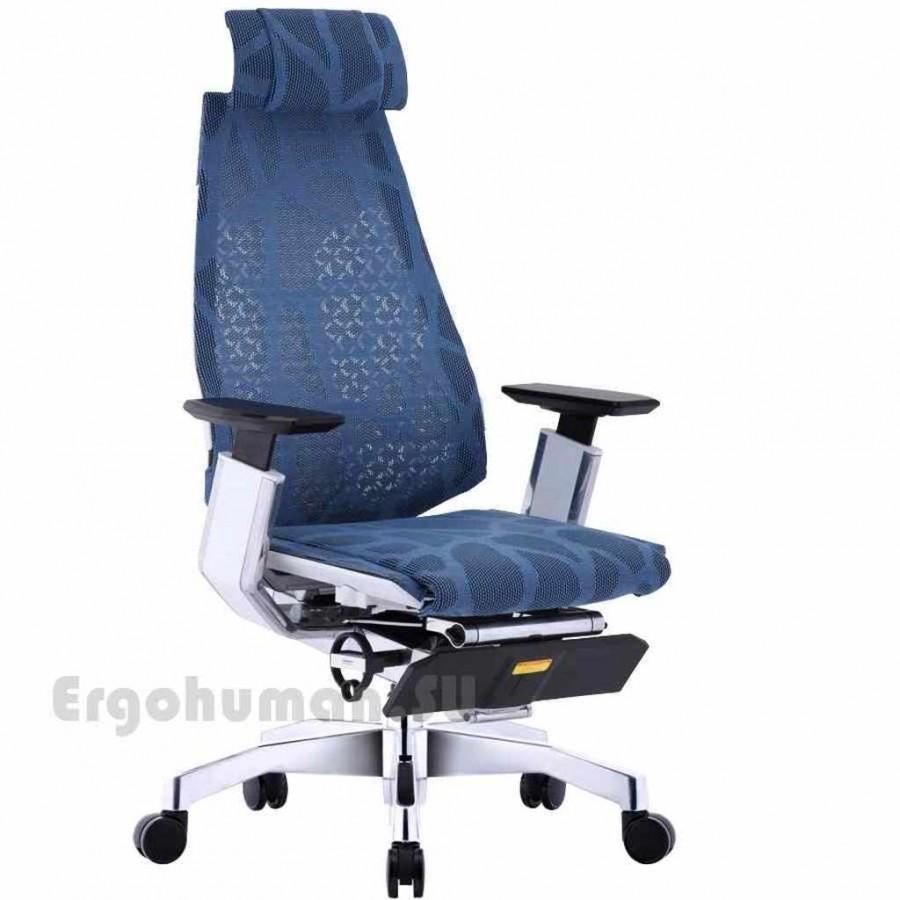 Кресло-реклайнер из сетки с подставкой для ног GENIDIA LegPro White