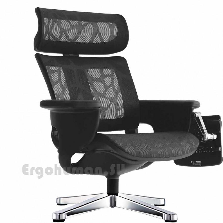 Сетчатое кресло реклайнер NUVEM Lounge Mesh Chrome, матовые основания