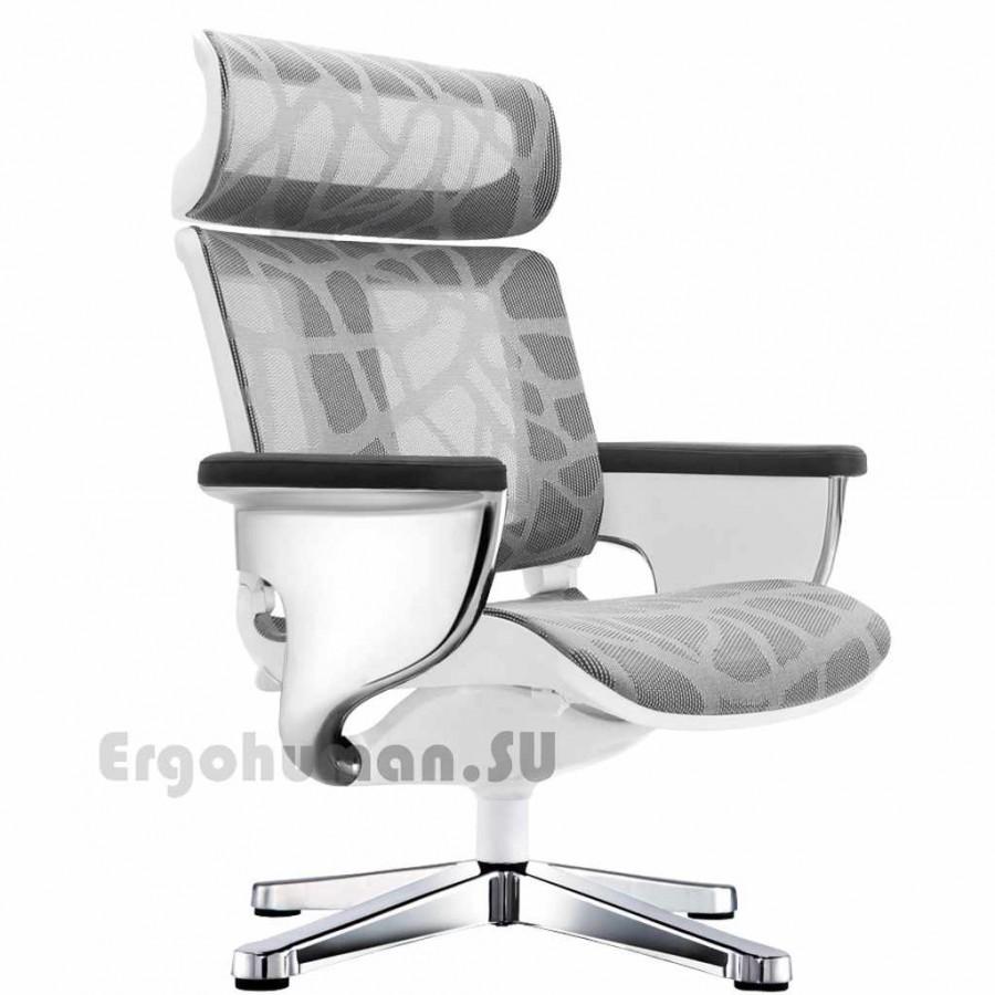 Сетчатое кресло реклайнер NUVEM Lounge Mesh Chrome с матовым основанием