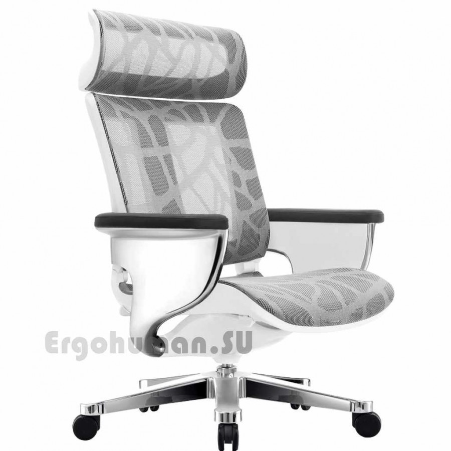 Сетчатое кресло реклайнер NUVEM Executive Mesh Chrome, хромированные основания