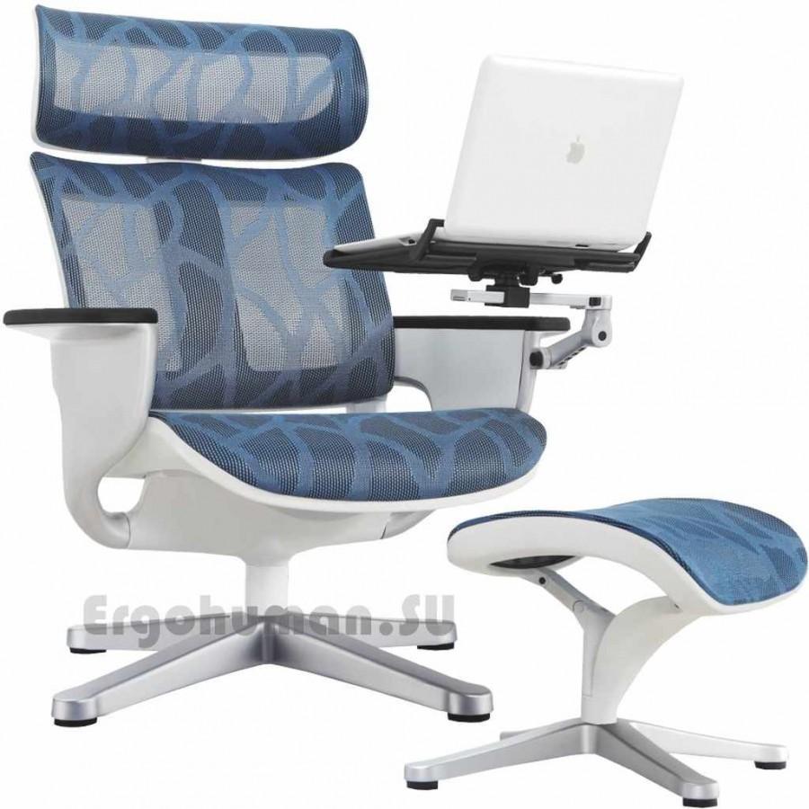Сетчатое кресло реклайнер NUVEM Lounge Mesh Silver с матовым основанием