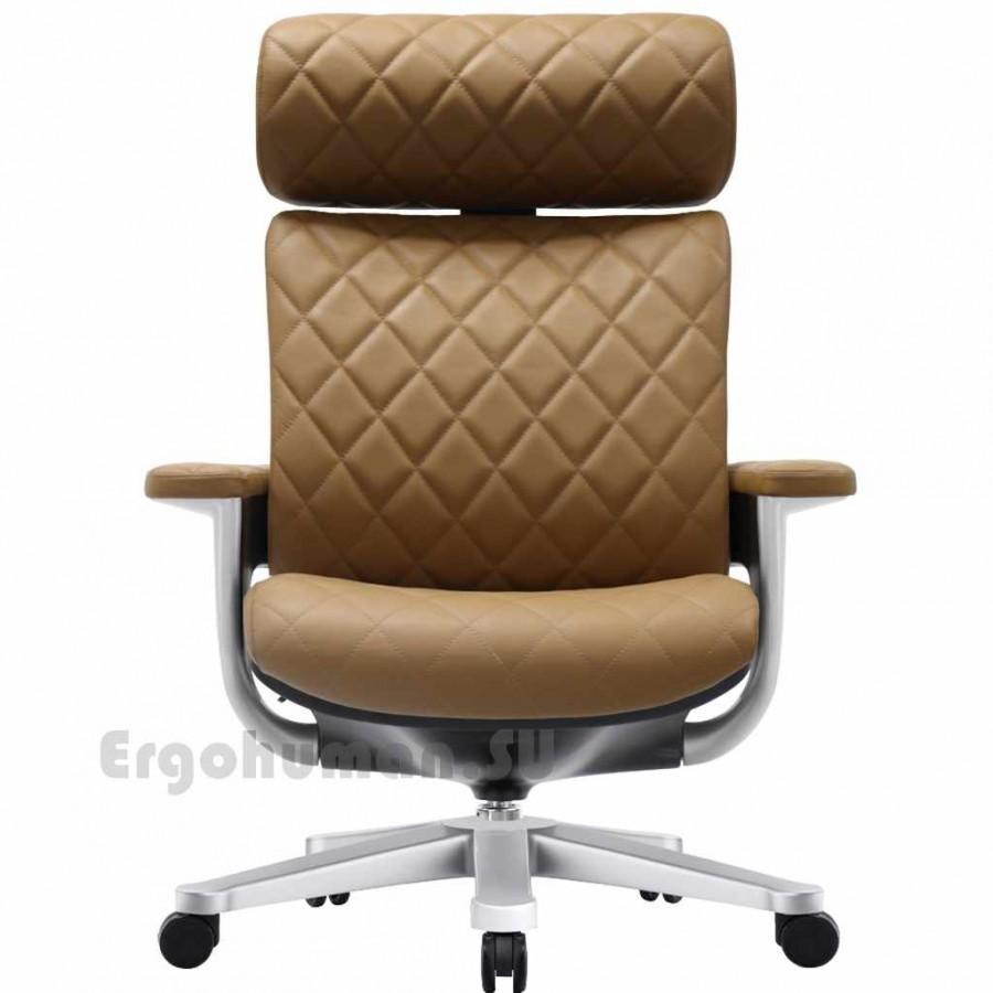 Кожаное кресло реклайнер NUVEM Executive Lux Silver, матовые основания