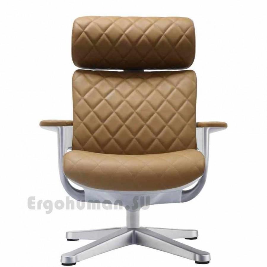 Кожаное кресло реклайнер NUVEM Lounge Lux Silver, матовые основания