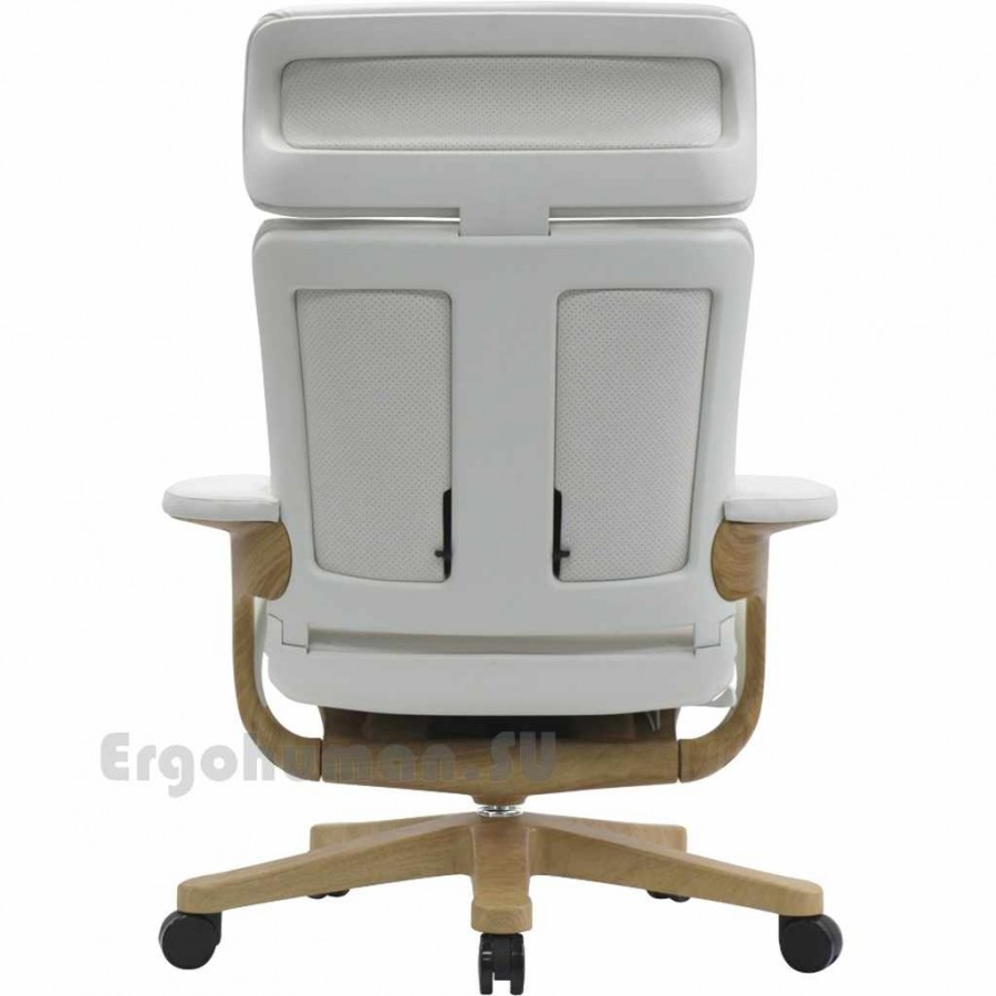 Кожаное кресло реклайнер NUVEM Executive Lux Wood, основания - декор под дерево
