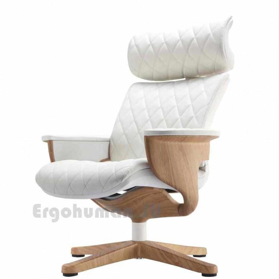 Кожаное кресло реклайнер NUVEM Lounge Lux Wood, основания - декор под дерево