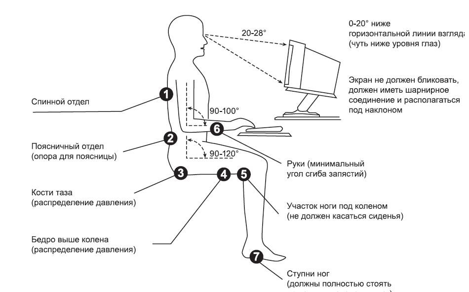 Углы наклона и взгляда при работе за компьютером