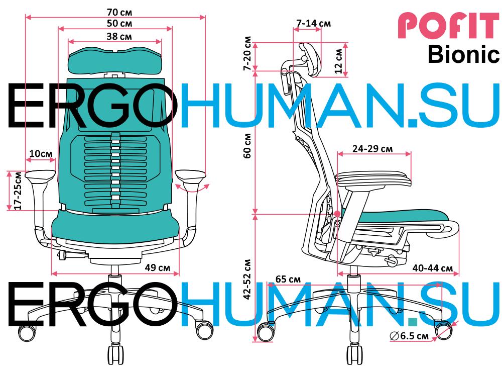 Размеры эргономичного кресла POFIT